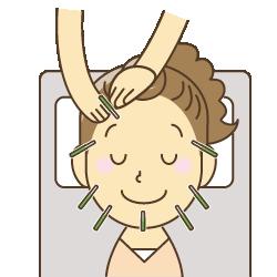 美容鍼を受ける人